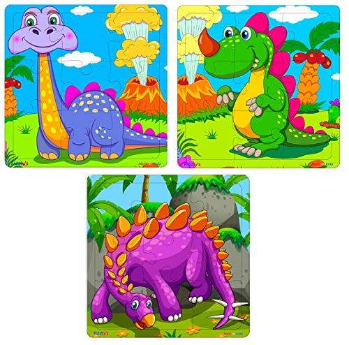 Fiddly's Wooden Jigsaw Puzzle for Children (High Quality Paperless Puzzle) - 9 Pieces (Dinos Pack of 3)