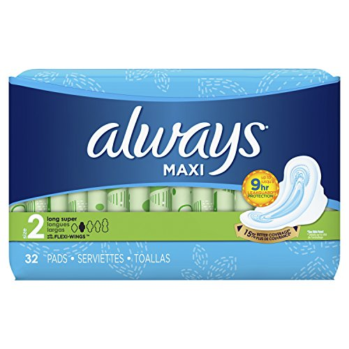 Always Maxi Feminine Pads Size 2, Long, Super Absorbency, with Flexi-Wings for Women, Unscented, 32 Count - Pack of 6 (192 Count Total)