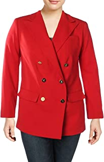 Womens Plus Wool Office Wear Double-Breasted Blazer