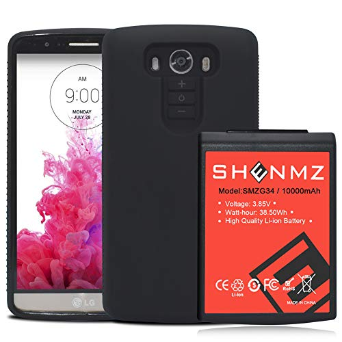 LG G3 Battery SHENMZ 10000mAh Li-ion Battery Replacement for LG G3 BL-53YH with Black Soft TPU Protection Case (Up to 3X Extra Battery Power) | LG G3 Extended Battery