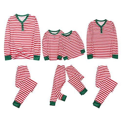 Conjunto de pijamas a juego de Navidad para la familia, pijama de Navidad, ropa de dormir a rayas, tops y pantalones largos, para bebés, niños, niñas, mujeres y hombres, rosso, XL