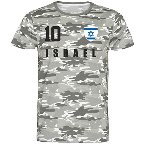 Nation Israel T-Shirt Camouflage Trikot Style Nummer 10 Army (XXL)