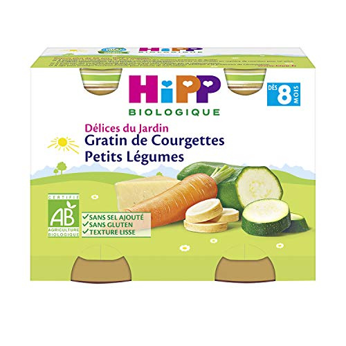 Hipp Biologique Gratin de Courgettes Petits Légumes Dès 8 Mois 2 Pots de 190 g