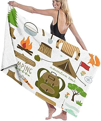 Telo Mare Grande 130 ×80cm, Modello di attrezzi da campeggio dei cartoni animati,Asciugamano da Spiaggia in Microfibra Asciugatura Rapida,Ultra Morbido,Uomo,Donna,Bambina