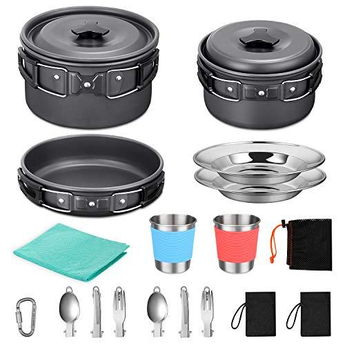 G4Free 21pcs Camping Cookware Mess Kit Non-Stick Lightweight Pots Pan Set...