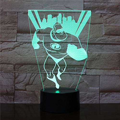 Mr Incredible Bob Parr Figura USB 3D LED Nachtlicht decoración niños niños bebés regalos Incredibles Tischlampe noche