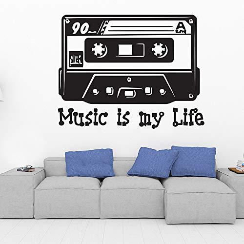 TYLPK Vintage Tape Vinyl Wandaufkleber DIY Wandbild Schwarz 93x73cm