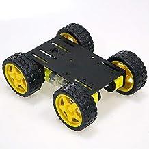 SZDoit 4WD Smart Metal Robot Car Chassis Kit for Arduino / Raspberry pi DIY Robotic Steam Platform with 4pcs TT Encoder Mo...