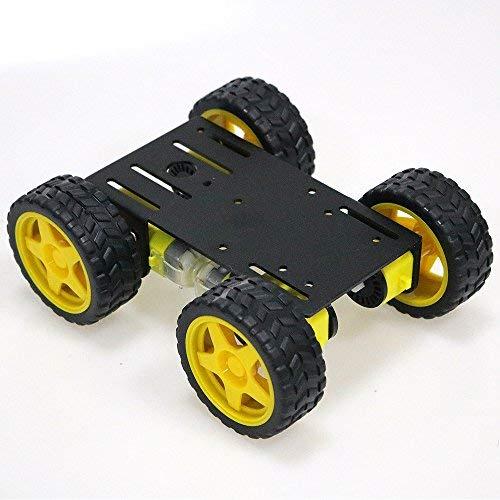 SZDoit 4WD Smart Metal Robot Car Chassis Kit for Arduino / Raspberry pi DIY Robotic Steam Platform with 4pcs TT Encoder Motor, 65mm Rubber Wheel, Speed Measure Encoding Disc