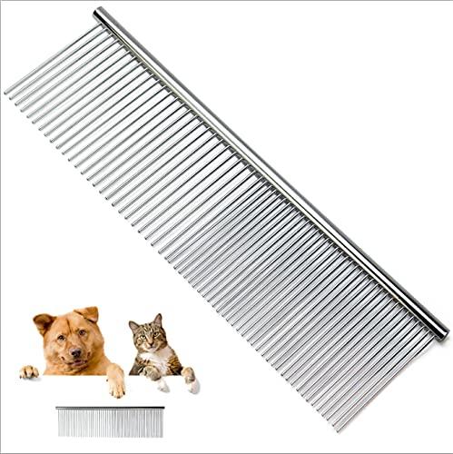 Vongfome Haustierkamm Katze Hund Stahl Kamm Edelstahl Reihe Kamm SpäRlich Doppelzweck Kamm Hund Grooming Reinigung Haarentfernung Kamm Hund Kamm