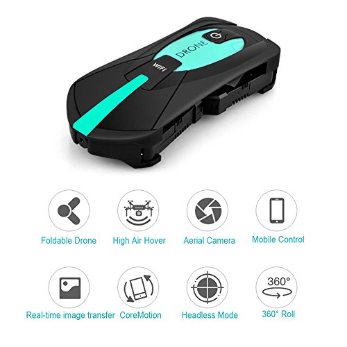 SUPOW Pocket RC Drone, Foldable RC Quadcopter Drone with Camera Gravity Induction 2.4 GHz 3D UAV with WiFi FPV HD Camera for Kids and Adult