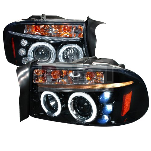 Spec-D Tuning 97-04 Dodge Dakota Halo LED Projector Headlights - Black w/Smoke Lens