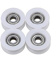BQLZR 6x24x9mm Blanco U Groove Guide Polea Rueda Rail Ball Bearings para muebles Polea Paquete de 4