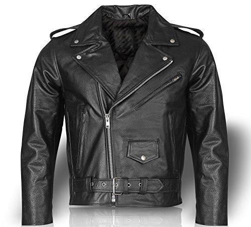 Motorrad jacke Motorradjacke Lederjacke Chopperjacke Chopper Biker Rocker veste (2XL)