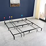 7' Universal Heavy-Duty Adjustable Bed Frame Black Metal, Easy Assembly Noise Free (Black)