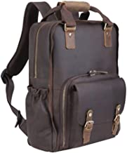 Tiding Leather Camera Backpack Large Capacity Camera Bag Backpack for 15.6