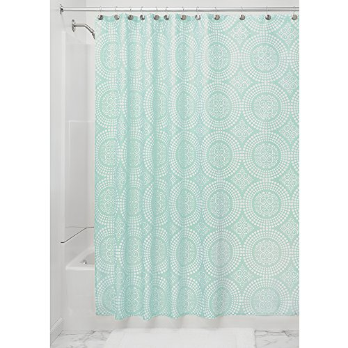 Price comparison product image iDesign Medallion Fabric Shower Curtains,  Long Shower Curtain,  Made of Polyester,  Mint