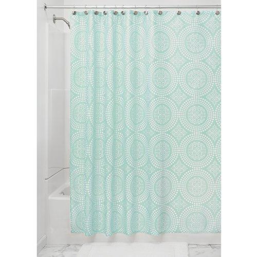 iDesign Medallion Textil Duschvorhang | 183 cm x 183 cm Duschabtrennung für Badewanne und Duschwanne | pflegeleichter Vorhang aus Stoff mit Kreismuster | Polyester mint