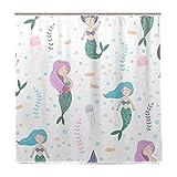 BALII Qualle Kelp Seetang Mermaid Duschvorhang 182,9x 182,9cm Polyester Wasserdicht mit 12Haken für Badezimmer