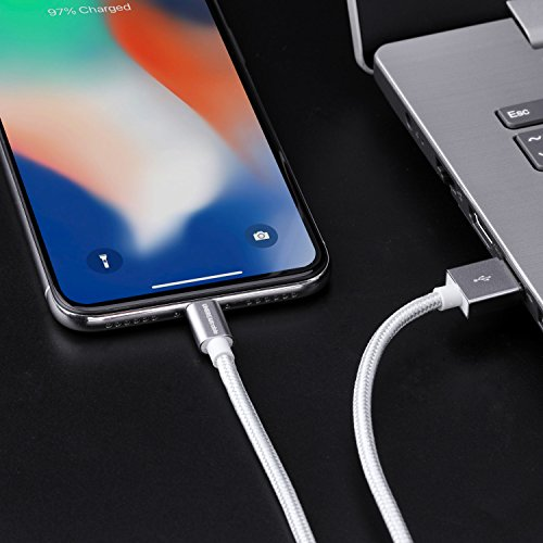 UNBREAKcable iPhone Ladekabel, Lightning Kabel - 1M [MFi-Zertifiziert] - Datenkabel geeignet für iPhone X iPhone 8, iPhone 6s iPhone 6, iPhone 7, iPhone XS/XS MAX/XR, iPad Air (Silber-Grau)