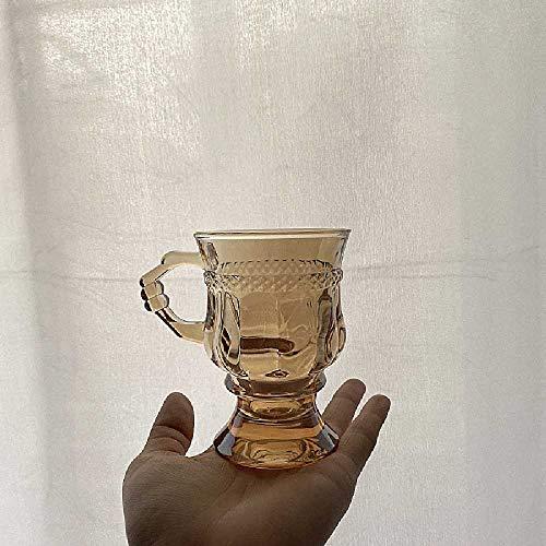 Bernstein Glas Retro Wasser Tasse Geprägt Romantische Mädchen Herz Glas Milch Tee Tasse Saft Tasse 101-200ml/Bernstein