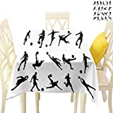 Sunxdeco Amazing Soccer Square Tablecloths, Football Player Silhouettes Goalkeeper Striker Shooting Heading Volleying Saving Large Table Linens Covers for Dining Room, 70' x 70' Black White