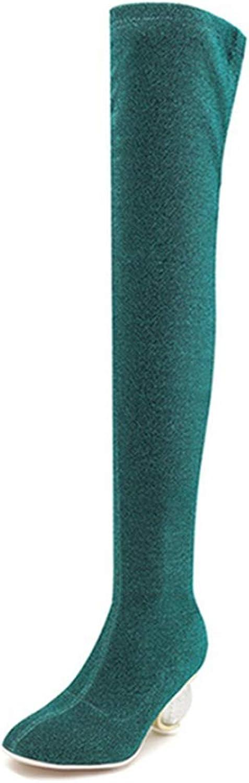 DOSOMI Woherrar Sexy Party mode Comby Stretch Crystal Heel Heel Heel Thigh High Over The Knee stövlar  stödja grossistförsäljning