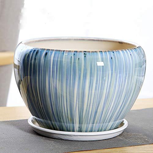 PLL blauwe groene stroom glazuur keramische bloempot split met lade eenvoudig gemakkelijk te matchen vloer bloempot