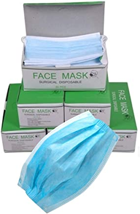 Imported Disposable Surgical 3 Ply Face Mask with elastic and Filter -Pack of 50 pcs (Blue)