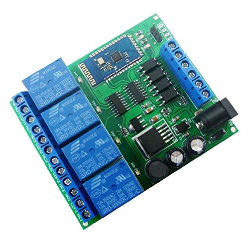 Runfon Módulo de relé de 4 Canales Bluetooth CC 5V 9v 24v 12 Smart Wireless Auto-Bloqueo momentáneo de Bloqueo Remoto Interruptor de Control de Azul