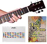 Guitar Fretboard Note Decals Fingerboard Frets Map Sticker for Beginner Learner Practice Fit 6 Strings Acoustic Electric Guitar FineFun(Transparent)
