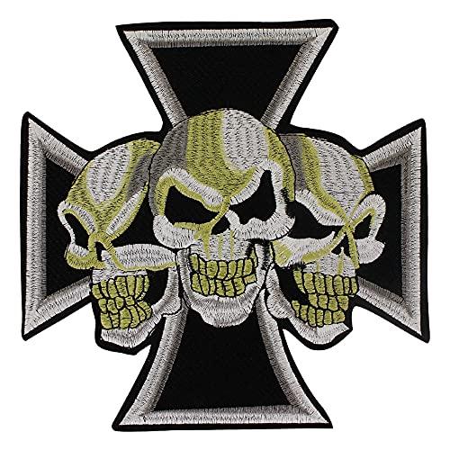 Parche bordado de calavera para coser y planchar, diseño de punk, rock, motero, gorro, camiseta