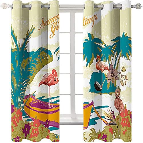 Cortinas Opacas Flamenco De Verano 2 Piezas De Cortinas Opacas Resistente Al Calor Y La Luz para Salón Dormitorio Cortina Gruesa Y Suave para Oficina Moderna 220 * 215cm