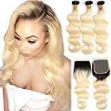 YOLAMI Hair Ombre T1b/613 Dark Roots Blonde Brazilian Body Wave Virgin Remy Human Hair Weave Extensions 3 Bundles With Lace Closure (16 16 16 with 14, 1B/613)