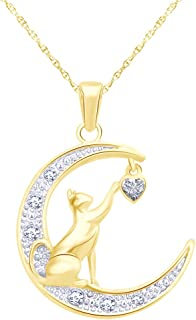 Round Cut White CZ Love Heart Cat Kitty Pendant Necklace in 14K Gold Over Sterling Silver