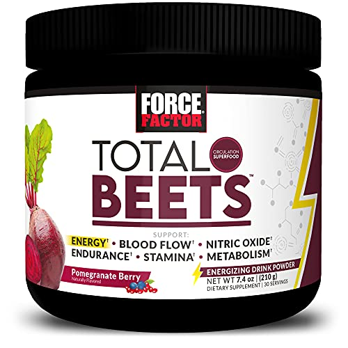 Total Beets Energy Drink Mix, Superfood Beet Root Powder with Nitrates to Boost Energy and Support Circulation, Blood Flow, Nitric Oxide and Stamina, Heart Health Supplement, Force Factor, 30 Servings