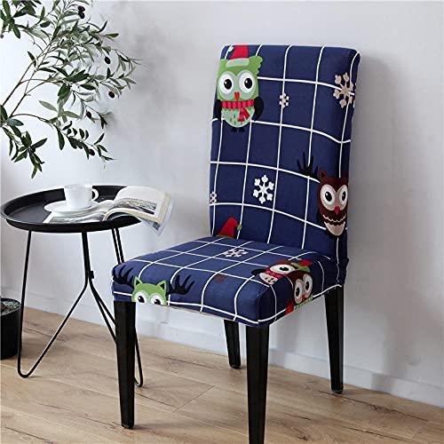 JRLTYU Fundas de sillas Búho Animal Azul Verde Negro Malla Blanca Fundas de Sillas Comedor Elásticas Spandex para Boda,Hogar,Restaurante,Hotel Fundas Protectoras para Sillas Juego de 4 Piezas