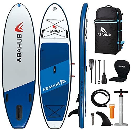 "Abahub Inflatable SUP, Wide 10'6"" x 34"" x 6"" iSUP, Blue Standup Paddleboard with Adjustable Carbon Fiber Paddle, Kayak Seat, for Yoga, Paddle Board, Kayaking, Surf, Canoe, Fishing"