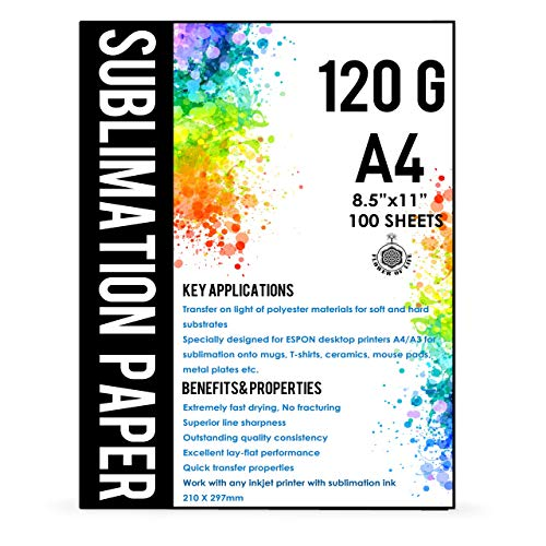 Sublimation Paper A4 Size 8.5x11 Inches - 100 Sheets - 120 gsm - Compatible with any inkjet printer with sublimation ink - Extremely Fast Dry Transfer Rate -