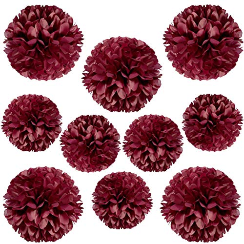 YLY's love Pom Poms Tissue Paper Flower Decorative Hanging Flower Balls DIY Paper Craft Flowers for Wall Wedding Birthday Party Baby Shower Home Decorations (Burgundy, 10pcs-5x8in,5x10in)