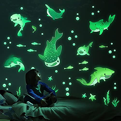 MESU dessin animé requin brille dans le noir autocollants lumineux stickers muraux monde sous-marin maison plafond décor pour garçons chambre pépinière enfants cadeau Shark