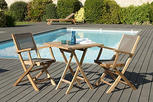 MACABANE 501225 Salon de Jardin Couleur Naturel et Taupe en Teck et Textilène Dimension 70cm X 70cm X 76cm