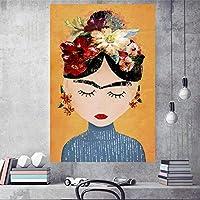 DIHEFAキャンバスプリント写真ウォールアート北欧絵画水彩クリエイティブ女性家の装飾モジュールポスターリビングルーム 40x60cm [フレームなし]