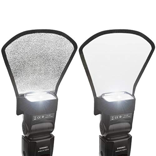 2 Pack Flash Diffuser Reflector - 2-Sided White/Silver Bend Bounce Flash Reflector Kit with Elastic Strap for Canon, Nikon, Sony, Fuji and All Speedlight Flashes