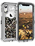 Coolden Heavy Duty Case for iPhone XR Case Glitter Shockproof Case Floating Bling Sparkle Shiny Quicksand Liquid Clear Bumper Protective Case Phone Case Cover for iPhone XR 6.1 inch (Black)