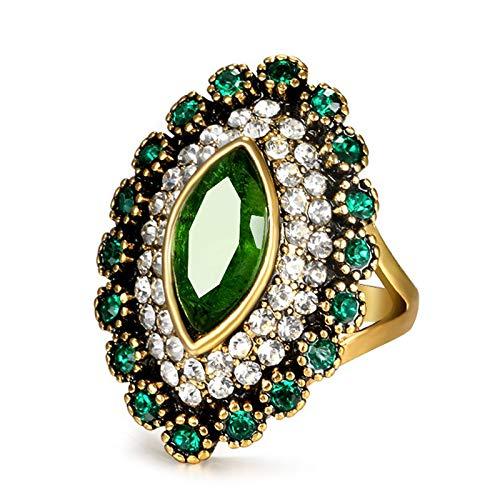 GMZWW Nieuwe mode groene stenen ring vintage sieraden antiek goud bedekt met witte kristallen ringen voor luxe geschenk van de vrouw