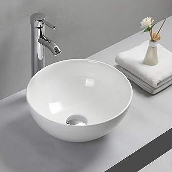 Atum Home Lavabo ovalado de cer/ámica para lavabo de ba/ño lavabo de cer/ámica blanca 0882