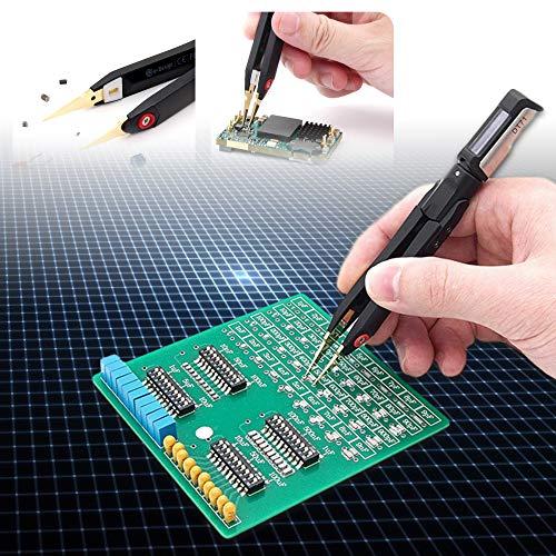 TTLIFE Mini-Pinzette, digital,10 kHz, Signalgenerator, SMD-Tester, tragbarer LCR-Messgerät, Diodenwiderstand, Kondensator, Spannung, digitale Pinzette mit LED-Display, Auto-Scan/Ersatz-Messleitungen