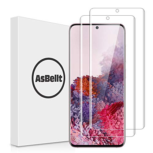 AsBellt [2 Pack] Screen Protector for Galaxy S20 and S20 5G 6.2'' Tempered Glass [Fingerprint Sensor Compatible][Full Adhesive][3D Glass][Case Friendly] Anti-Scratch for Samsung Galaxy S20