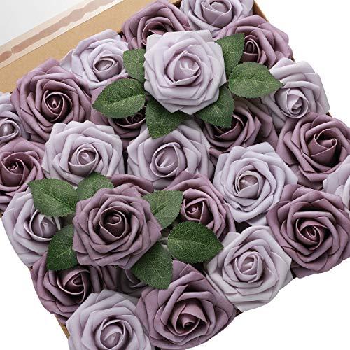 DerBlue 60pcs Künstliche Rosen Blumen Echt aussehende gefälschte Rosen Künstliche Schaumrosen Dekoration DIY für Hochzeitssträuße Mittelstücke, Arrangements Party Home Dekorationen